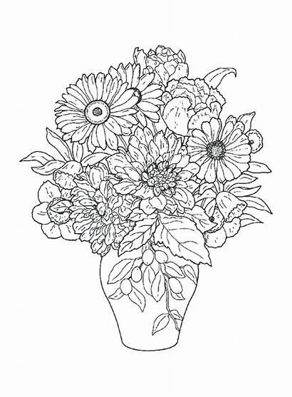 Coloring Flowers Pages Bouquet Printable Coloringtop