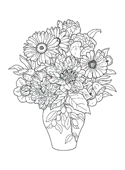 Rose coloring pages are one of the most popular flowers coloring. Bouquet Of Flowers Coloring Pages for childrens printable ...