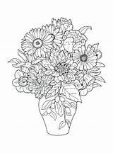 Coloring Flowers Printable Bouquet Flower Paper Coloringtop Affiliateprogrambook sketch template