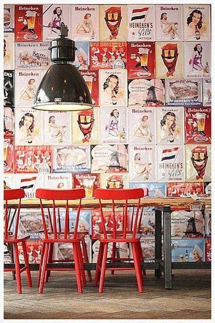 cuisine kitchen rouge red avec style industriel et papier