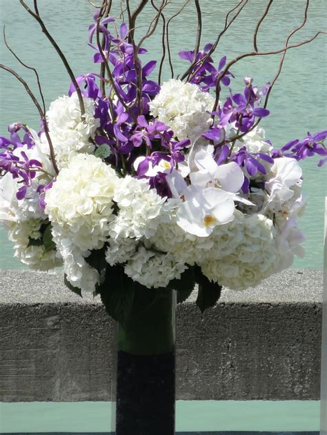 Purple And White Floral Wedding Centerpieces Wedding
