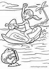 Coloring Ski Pages Jet Jetski Vehicles Popular sketch template