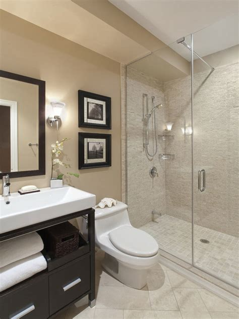 bathroom casual modern beige small bathroom with shower stall decoration using glass tile