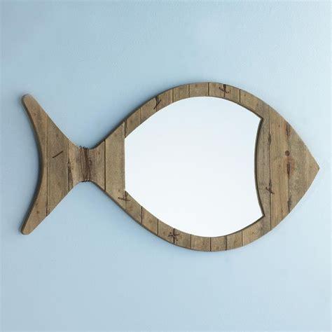 wood plank fish mirror driftwood planks rusty wire