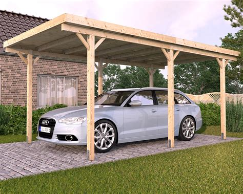 Wooden Car Ports by Freestanding Solid Wood Carport Flat Roof Kvh 3000x5000mm