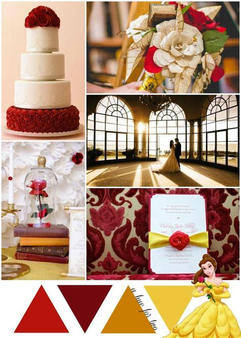 Red Gold And Yellow Beauty And The Beast Wedding Theme