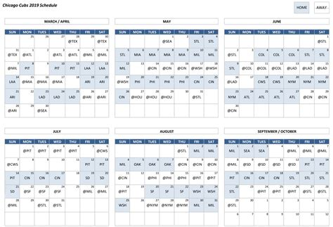 chicago cubs schedule