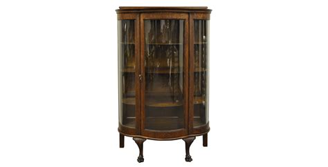 bow front curio cabinet antique victorian tiger oak bow front curved glass china