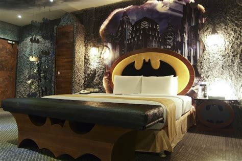 batcave awaits batman themed hotel room  awesome