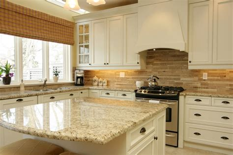 Backsplash With White Cabinets And Granite by Santa Cecilia Granite White Cabinet Backsplash Ideas