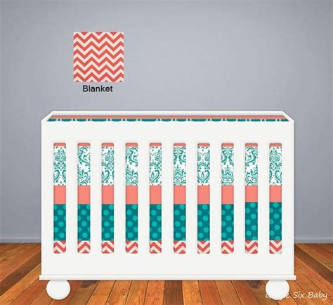 Teal And Coral Baby Bedding by Custom Crib Bedding Coral And Teal Baby Bedding On Etsy