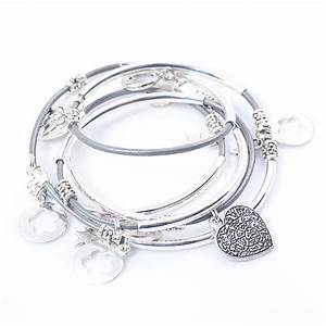 Silver Noodle Wrap Leather Charm Bracelet