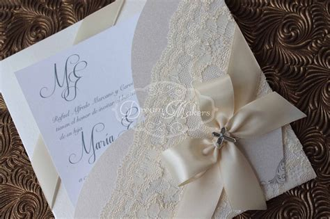 handmade lace baptism invitation announcement  laura