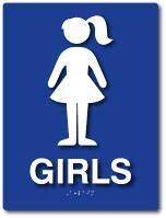 Girls bathroom sign ada compliant school lavatory sign for Girls bathroom symbol