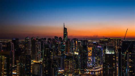 wallpaper  night city skyscrapers