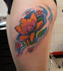 Fleur Lotus Tatouage : photo tatouage fleur de lotus cuisse ~ Mglfilm.com Idées de Décoration
