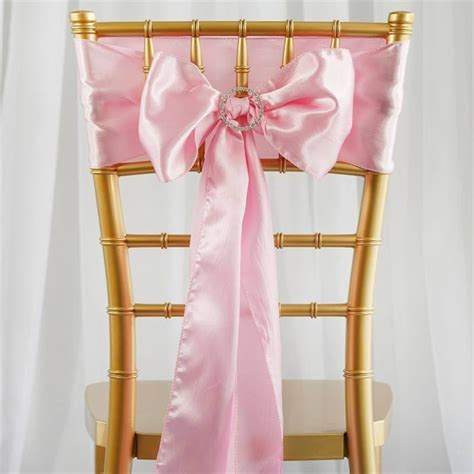 5 pcs pink satin chair sashes tie bows catering wedding