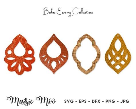 Accessory, earring, jewelry, necklace, woman svg vector icon. Earring SVG | Boho Faux Leather Earring Templates ...