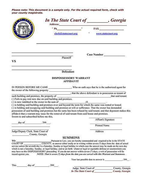 georgia sample dispossessory warrant affidavit ez