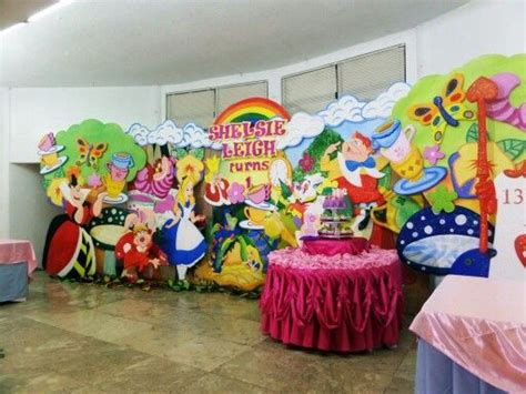 alice  wonderland stage backdrop party decor
