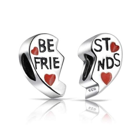 Silver Red Heart Charm Best Friends Bead Set Pandora