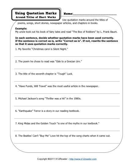 Quotation Marks  Quotation Mark, Punctuation And Worksheets