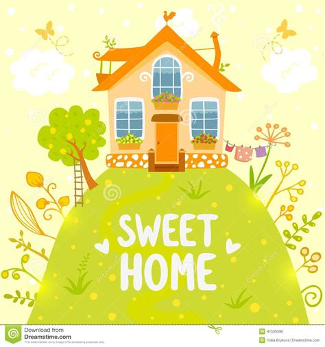 sweet home stock vector image of hill summer creative 41535590