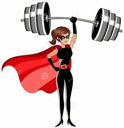 Lifting Weights Woman Heavy Weightlifter Superhero Head