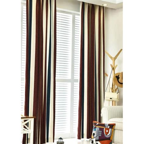valance bay window brown white and navy blue striped jacuard chenille
