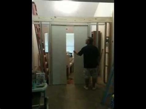 double pocket doors close    time   pulley