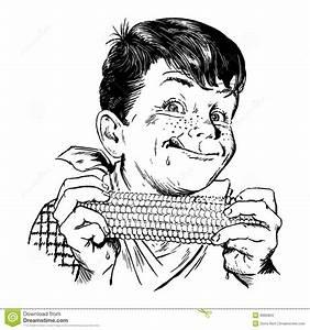 Vintage 1950s Boy Eating Corn Stock Vector - Image: 8960824