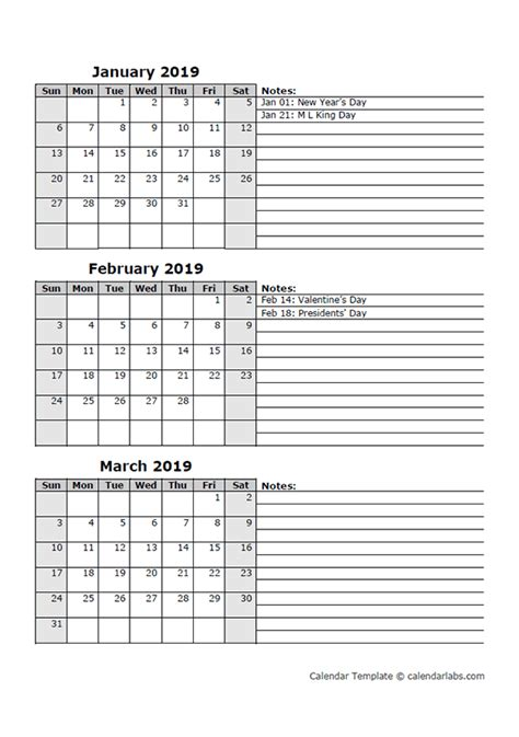 month calendar template printable templates