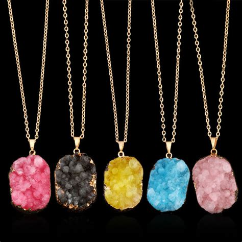 colorful natural druzy rock crystal pendant necklace