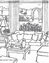 Coloring Pages Drawing Living Rooms Adults Perspective Drawings Adult Point Colouring Christmas Fredgonsowskigardenhome Printable Img406 Casa Colorir Para Sheets Draw sketch template