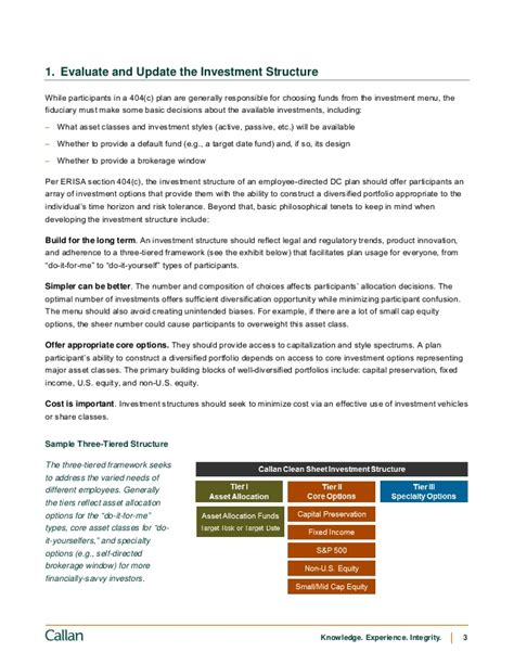 erisa section 404 c managing defined contribution plan investments a