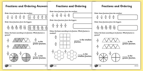 ordering fractions worksheet fractions order activity