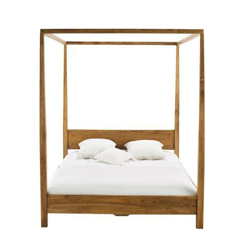 chambre en teck lit à baldaquin 160 x 200 cm en teck massif amsterdam