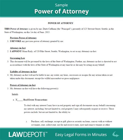 power  attorney form  poa forms  lawdepot