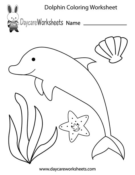 preschool dolphin coloring worksheet