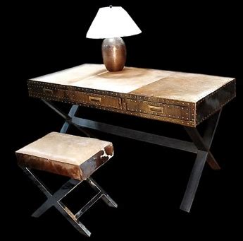 Cowhide Desk by Modern Dezignz Zhari Cowhide Writing Desk