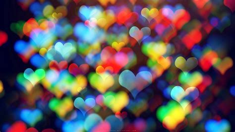Looking for the best hearts wallpaper? Download wallpaper 1366x768 hearts, colorful, bokeh, abstraction tablet, laptop hd background