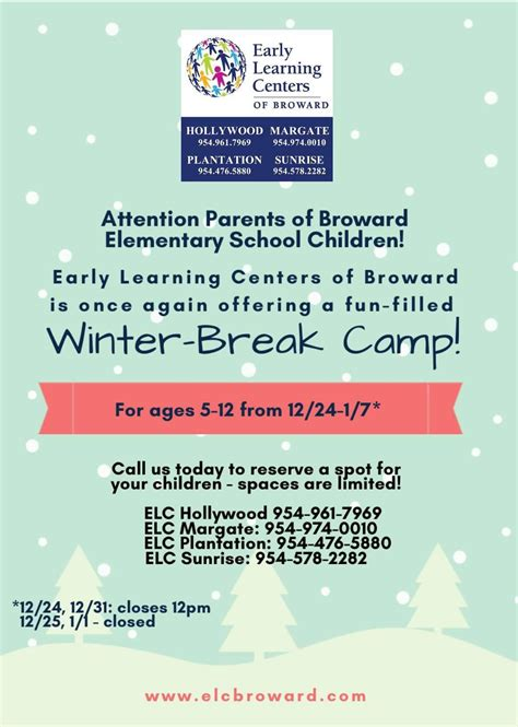 elc broward best preschool broward free vpk free food 215 | winter camp flyer 2018 2019 1