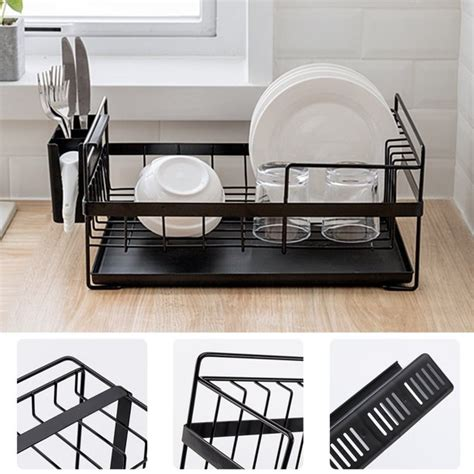 black stylish kitchen dish drainer drying rack kitchen stainless steel countertop drying rack