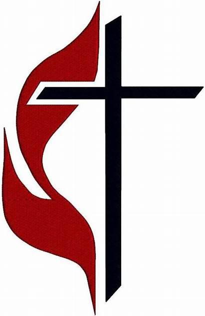 Methodist Cross Flame Jesus Heart Christ Church