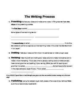 the writing process worksheet by life in 209 teachers