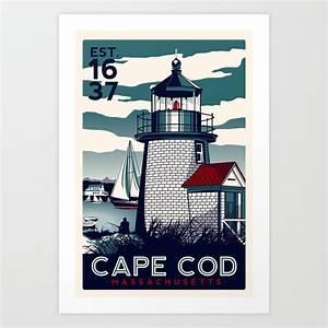 Cape Cod Massachusetts Light House Retro Vintage Nautical