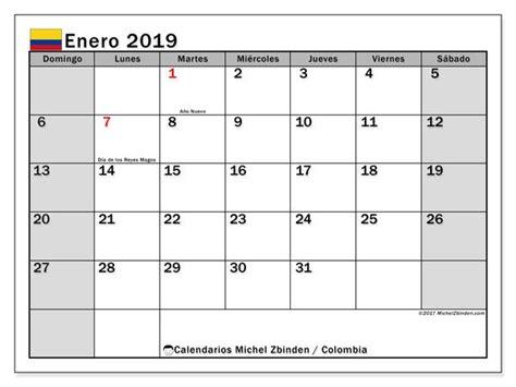 calendario enero  colombia calendario enero