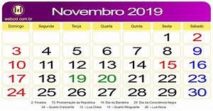 Calendário de Novembro de 2019 webcid