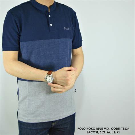 jual beli baju polo kerah koko mix 3 warna biru polos