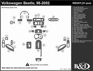 Volkswagen Beetle 1998 1999 2000 2001 2002 Dash Trim I